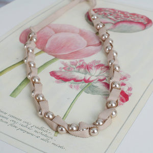 Pearl & Ribbon Tie Necklace
